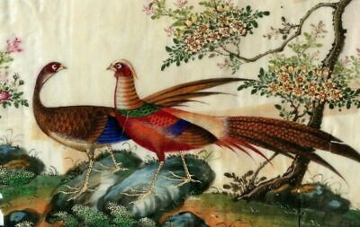 Ancient Original Painting XIX Canton, Qing, Chinese, Asia, Birds, Landscape