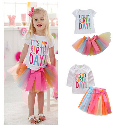 Baby Girls Birthday Embroidery T-Shirt +Rainbow Tutu Skirt Set Outfits Ches