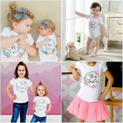 Kid Newborn Girl Baby Cotton Bodysuit Big Sister T-shirt Little Sister Romper