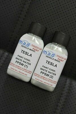 Tesla White Water Ppsw Paint 30Ml Touch Up Kit *Base & Pearl* Repair Paint Brush