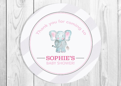 Personalised Hot Pink Elephant Birthday Stickers Party Thank You Seals N350