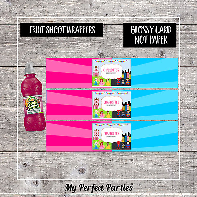 6 Princess and Pirate Personalised Fruit Shoot Bottle Wrappers Party Favour
