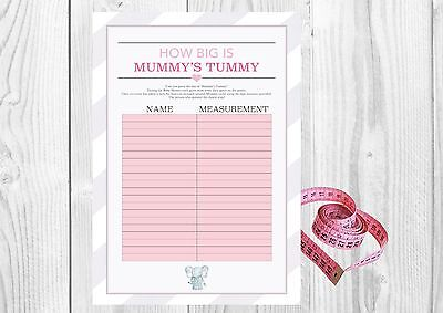 Blue Elephant Baby Shower 20 Player Game Tape Measure How Big is Mummys Tummy