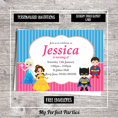 PICK YOUR MAIN CHARACTER 10 PERSONALISED SUPERHERO AND PRINCESS INVITATIONS