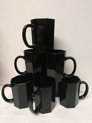 SET 8 Arcopal OCTIME France BLACK Glass Octagon Coffee or Tea mugs