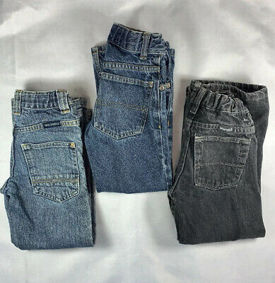 Lot of 3 Pairs Boys Jeans Sz 6 slim Faded Glory Wranglers Adjustable waist band
