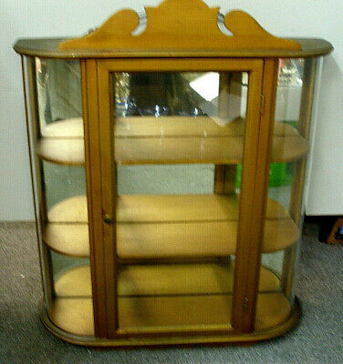 "Vintage Wooden Wall Curio Cabinet Curved Side Glass 3 Tier Shelves 19"" + Mirror"