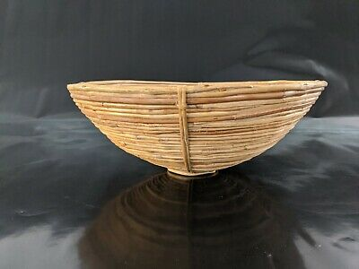 "Large Asian Bamboo Cane Bowls Hand Woven Coiled Decor Bowl  15 3/4 D X  5/8"" H"