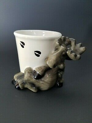 Barefoots Moose's By Phyllis Driscoll Moose Glazed Ceramic Toothbrush Holder Cup
