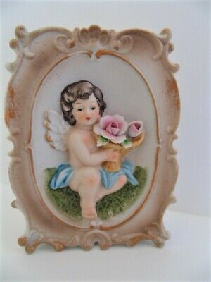 Vtg Norleans Ceramic Angel Cherub Holding Flowers Wall Pocket 3D Table Vase