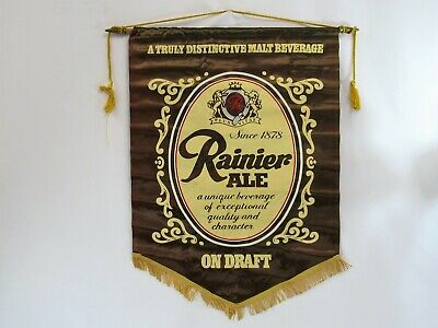 Ranier Ale Silk Banner 1970s Seattle Brewing Beer Vintage Cloth Fabric Sign
