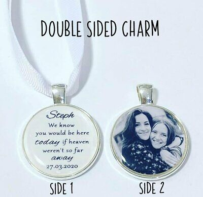 Personalised wedding bouquet photo double sided memorial charm loved ones