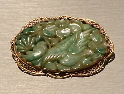 Antique Chinese Silver Carved Jade Pin Brooch Estate