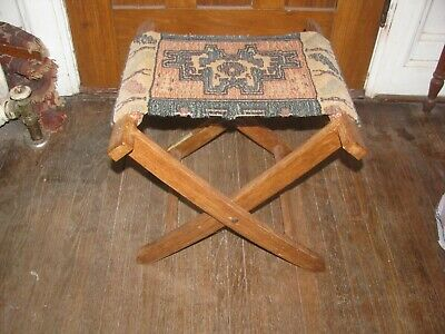 Antique Vintage Carpet Seat Camp Stool Very Nice