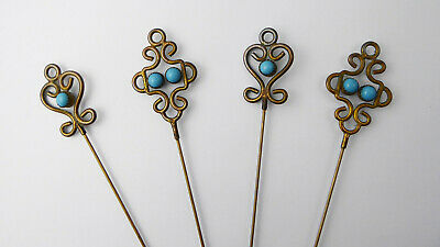 Set of 4 Matching Antique Victorian Edwardian Turquoise Hat Pins – 2 Pairs