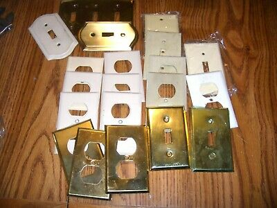 20 VINTAGE METAL Toggle Light Switch Cover  Wallplate  BRASS  & METAL
