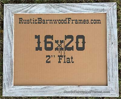 """16x20"""" Flat WHITE WASHED BEACH rustic barn primitive picture frame upcycled wood"""