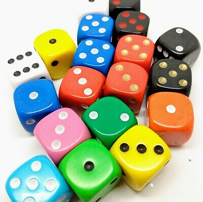 Dice, 16mm D6 six sided spot dice in various colours. Packs of 10, 25 and 50