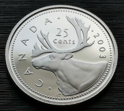 *** Canada  25  Cents  2003 ***  Proof  Heavy  Cameo  ***  Sterling  Silver  ***