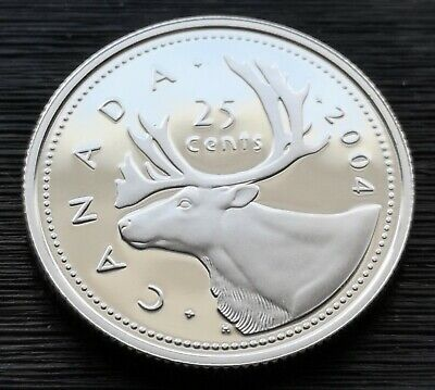 *** Canada  25  Cents  2004 ***  Proof  Heavy  Cameo  ***  Sterling  Silver  ***