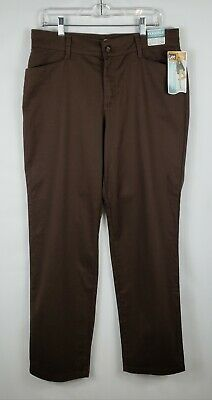 NWT Lee Women's Brown Flexible Comfort Waist Pants Stretch Relaxed Size 14 Long