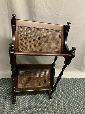 Antique Vintage Wood Wicker Book Magazine Stand Shelf Rack
