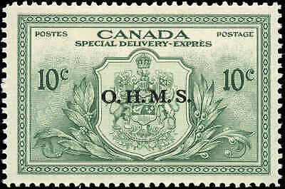 Stamp Canada Mint 1950 F-VF 10c Overprinted OHMS Scott #EO1 Special Del. Hinged