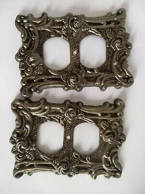 VTG American Tack & Hardware Gold Roses Outlet Pair light Switch Plate Cover 60D