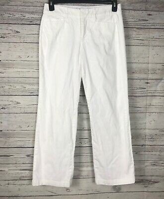 JM Collection Women's White Elastic Waistband Flat Front Stretch Pants Size 8PS