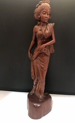 "Vintage 20"" Carved Asian Oriental Woman Statue Figurine Gorgeous Detail CHARITY"