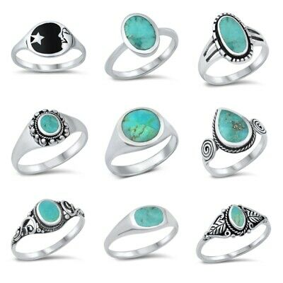 NEW! 925 Sterling Silver  TURQUOISE & ONYX  STONE RINGS SIZE 5-10