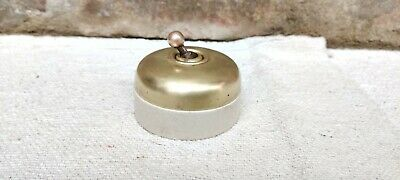 Antique Old Vitreous 5 AMP 250V Jumbo Size Brass Ceramic Electric Switch