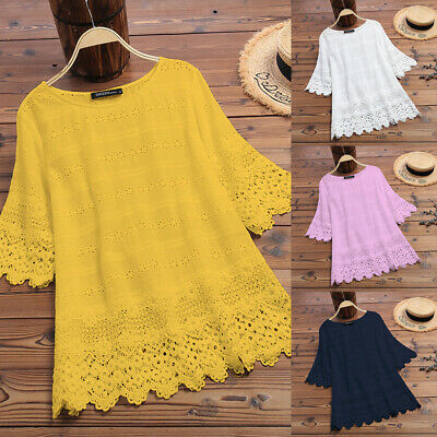 UK Women Short Sleeve Lace Crochet Hollow Out Tops Shirt Tee Casual Loose Blouse
