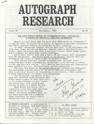 Autograph Research #9, September 1991, newsletter; early astronauts autographs