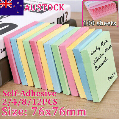 """4/12PCS 3""""x3"""" Mixed Colors Sticky Note Memo Pad 100 Sheets Office Tab Removable"""