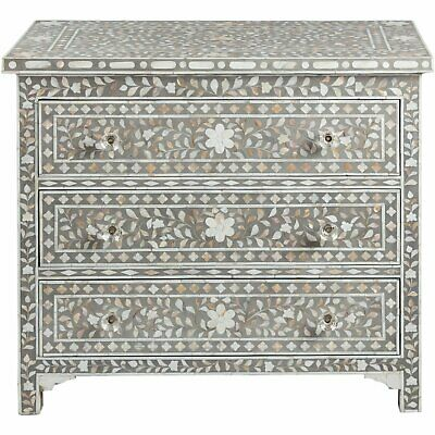 Mother of pearl inlay 3 drawer sideboard indian handmade floral pattern medium g