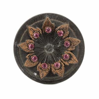 Large Czech reverse painted lacy style pink rhinestone floral glass button 38mm