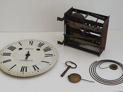antique clock face and works french movement key