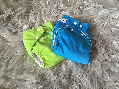 FuzziBunz Cloth Diapers Lime And Blue Size Medium W/Inserts
