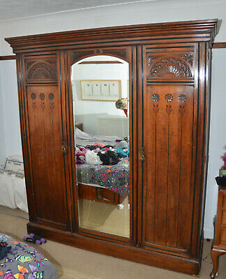 "Victorian Walnut COMPACTUM wardrobe Full mirrored door  ""Essex"""
