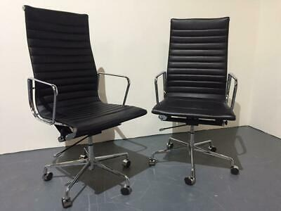 Used Black Bonded Leather Swivel Meeting Chairs, 8 available