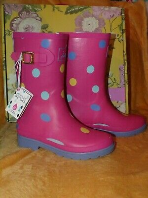 Joules pink spot wellies / boots. girls Size 2 Brand new in box/tagged