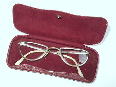 Vintage Cateye Brille,12 Karat Gold Filled,Brillenfassung + Metall Etui,Art Deco