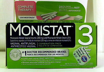 Monistat 3 Vaginal Antifungal Combo Pack 3 Day Treatment Exp 03/20
