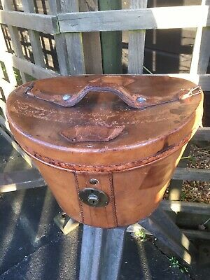 Vintage Brown Leather Top Hat Box Case Red Velvet Interior