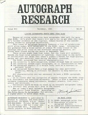 Autograph Research #11, November 1991, newsletter; living autographs worth $100+
