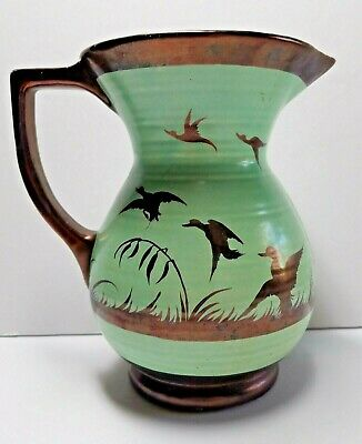 Hand Painted Pottery Pitcher DUCKS TAKE FLIGHT Copper Paint Turquoise Glaze USA