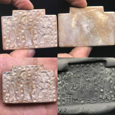 Ancient Sassanian Amulets En-carved With Royal detail in Selenite Stone #A210