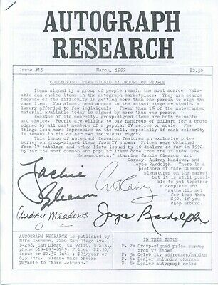 Autograph Research #15, March 1992, newsletter; TV group-signed price survey