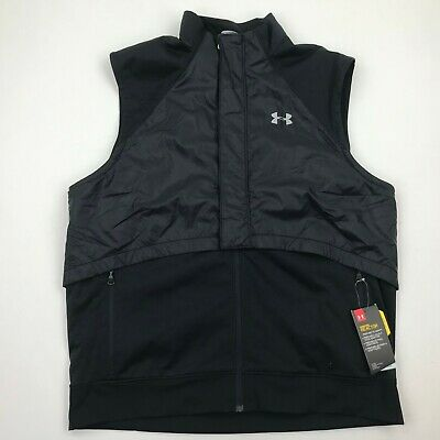 Under Armour Storm Cold Gear Men Black Zip Up Sleeveless Vest sz XL NWT